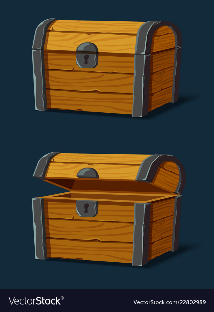 Set isolated wooden chest or trunkpirate crate