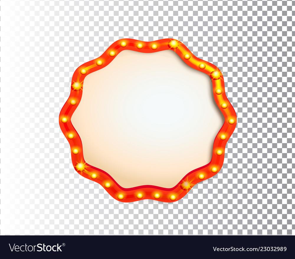 Shining isolated retro bulb light circle frame