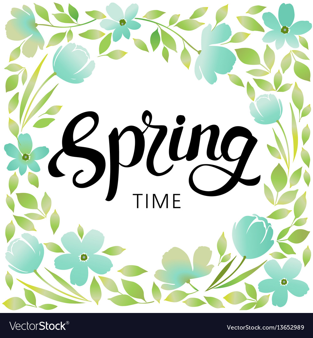 Spring wreath frame vector image