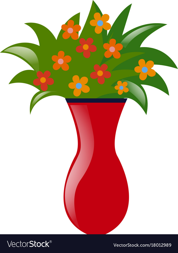 Vase with colorful flowers Royalty Free Vector Image