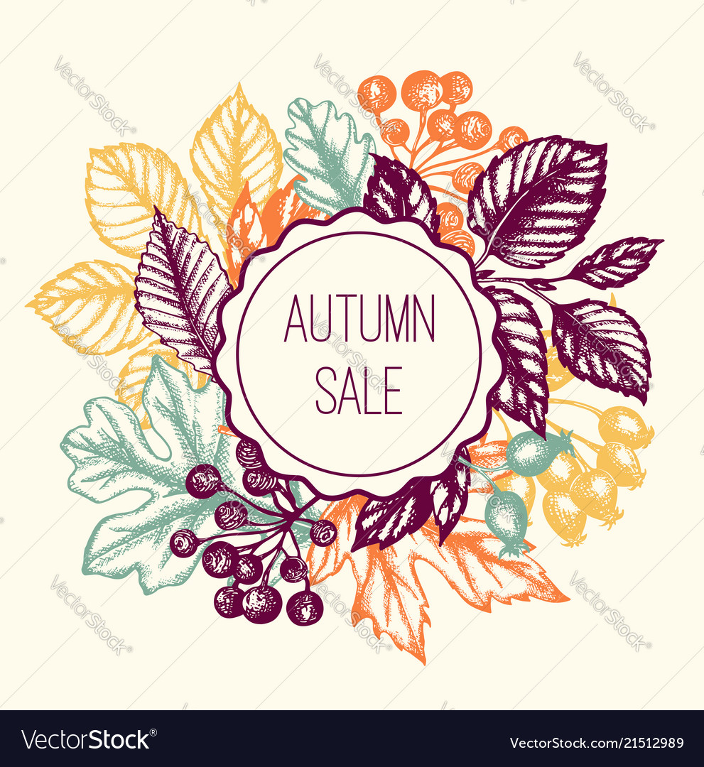 Vintage autumn floral background with leaves