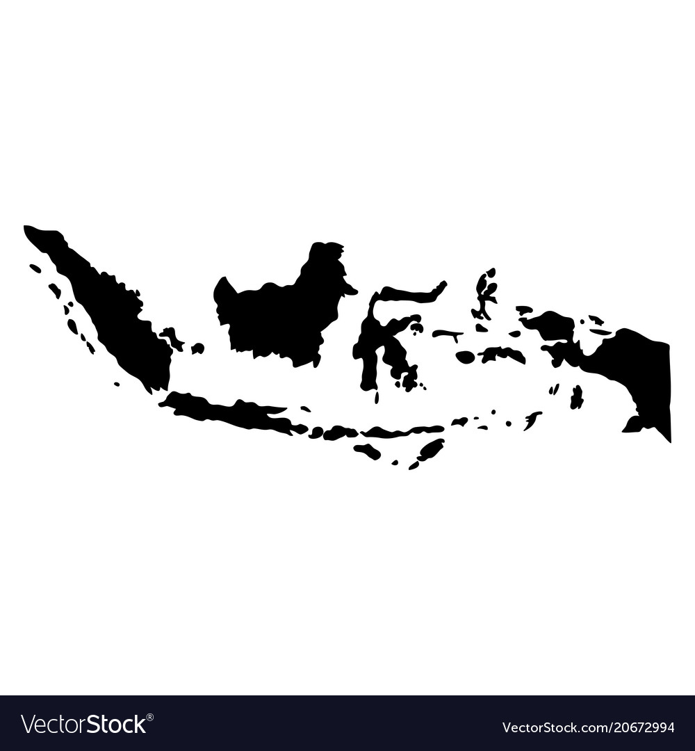 Black silhouette country borders map of indonesia