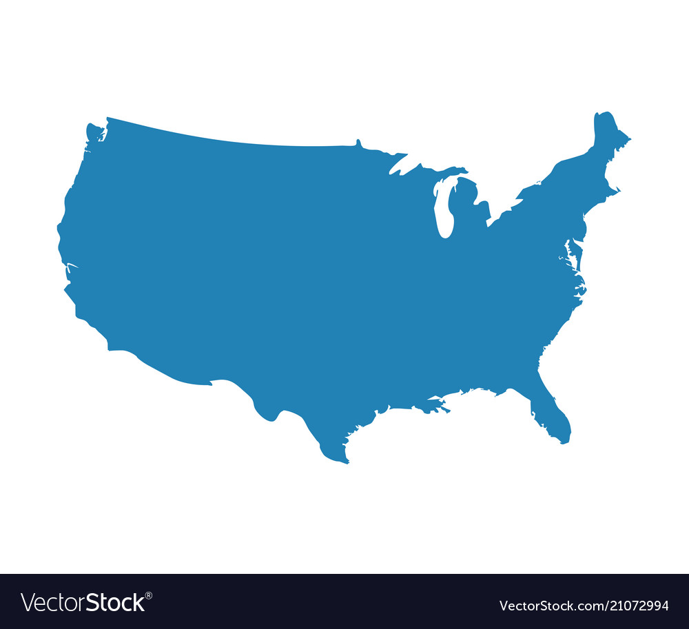 Blue Usa Map.Blank Blue Similar Usa Map Isolated On White Backg Vector Image On Vectorstock