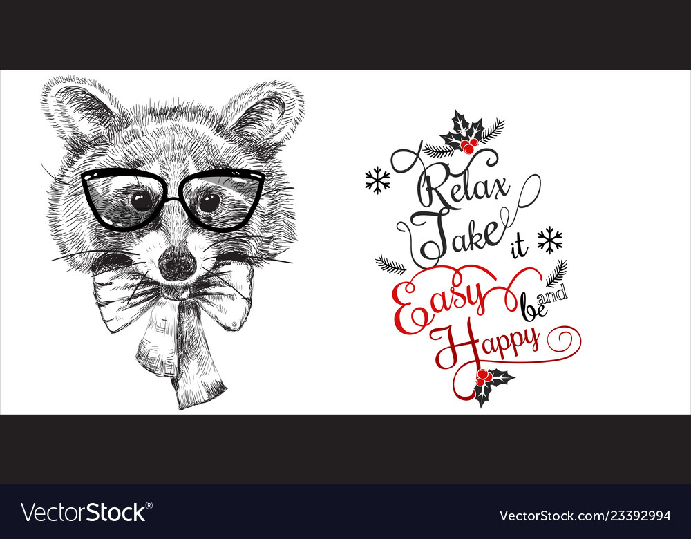 Cartoon cute animal in glasses and bow tie