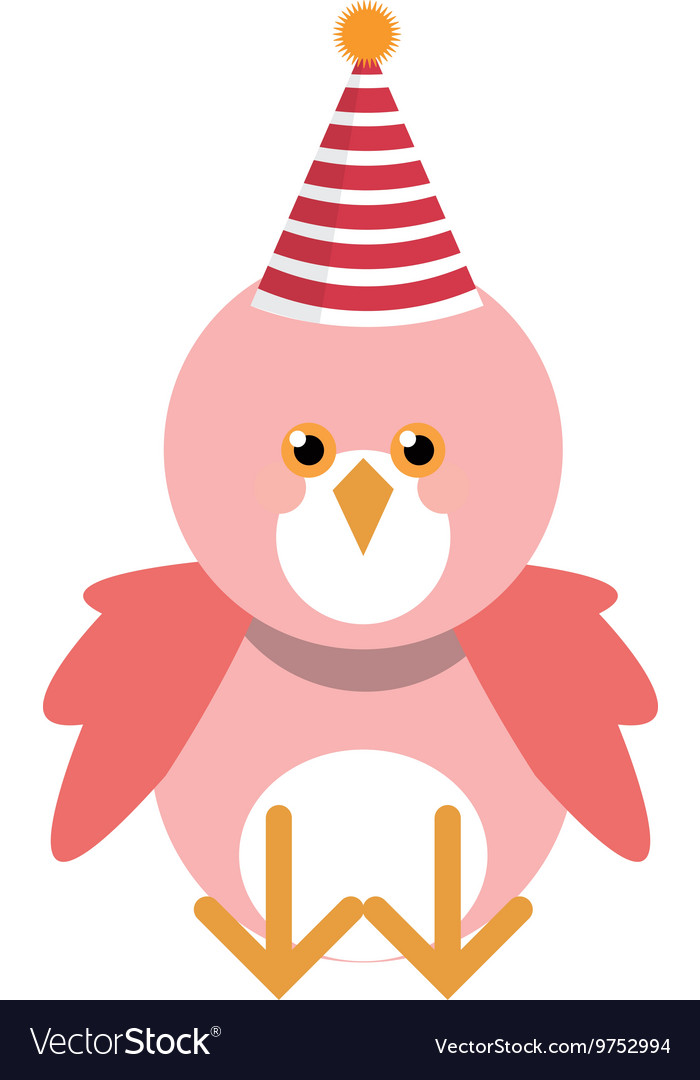 Cute pink bird with party hat