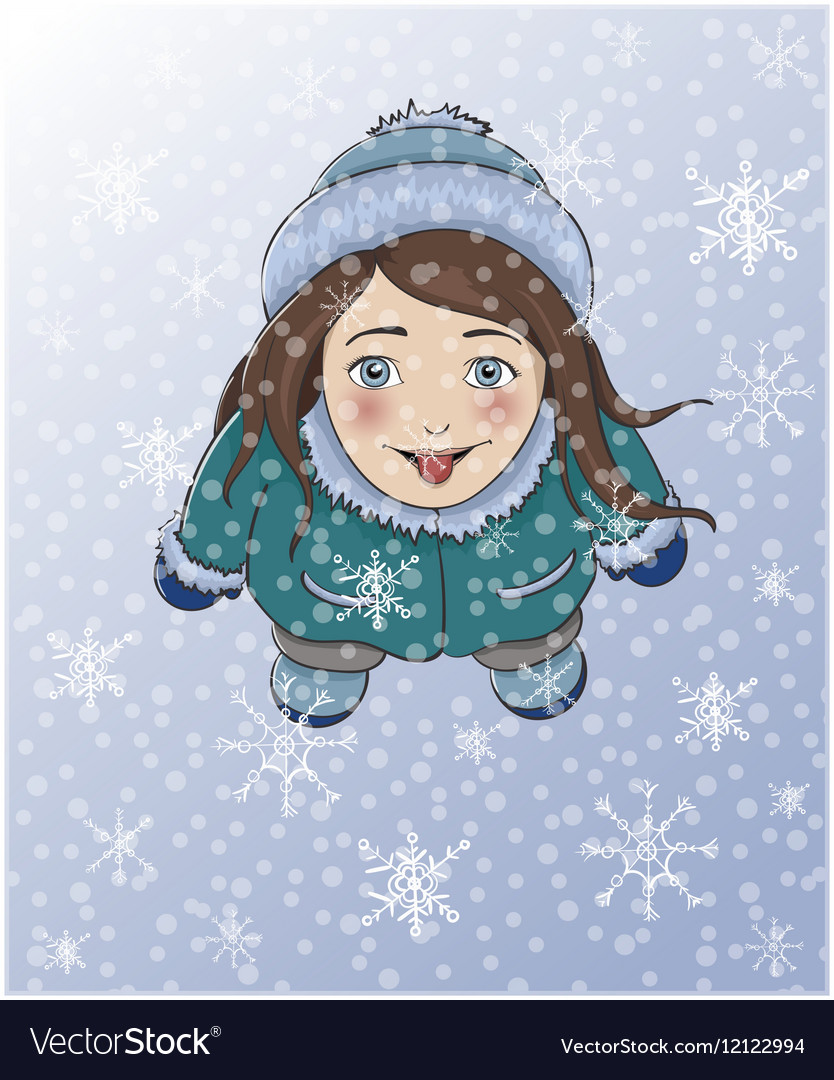 Cute winter girl catching snowflakes with tongue