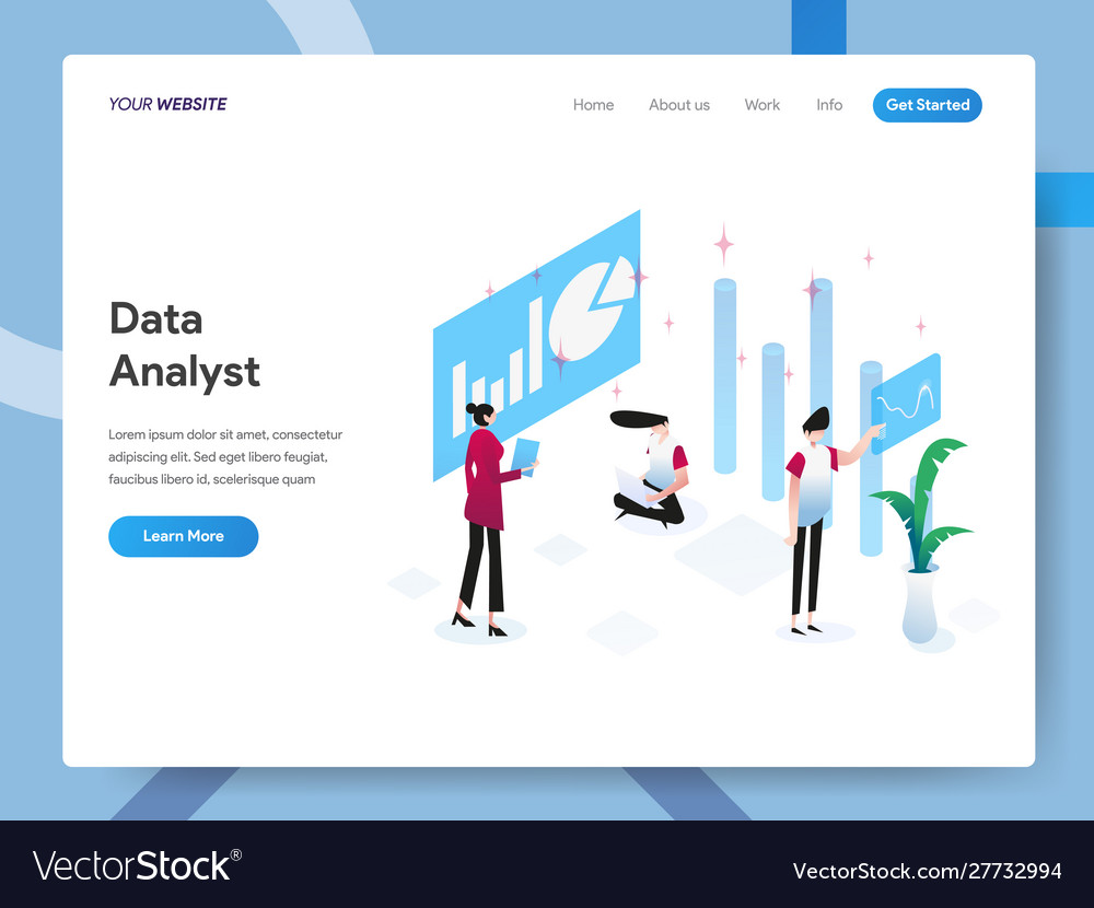 Landing page template data analyst isometric