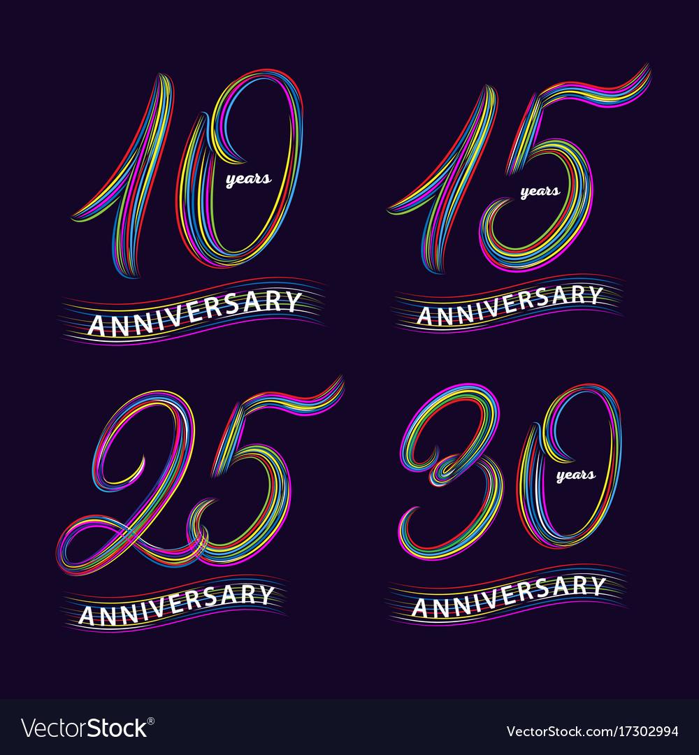 Set of 10 15 25 30 years anniversary hand