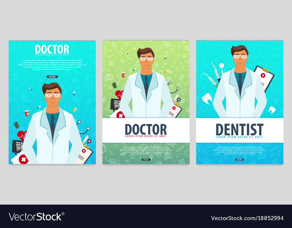 set of medical posters health care royalty free vector image