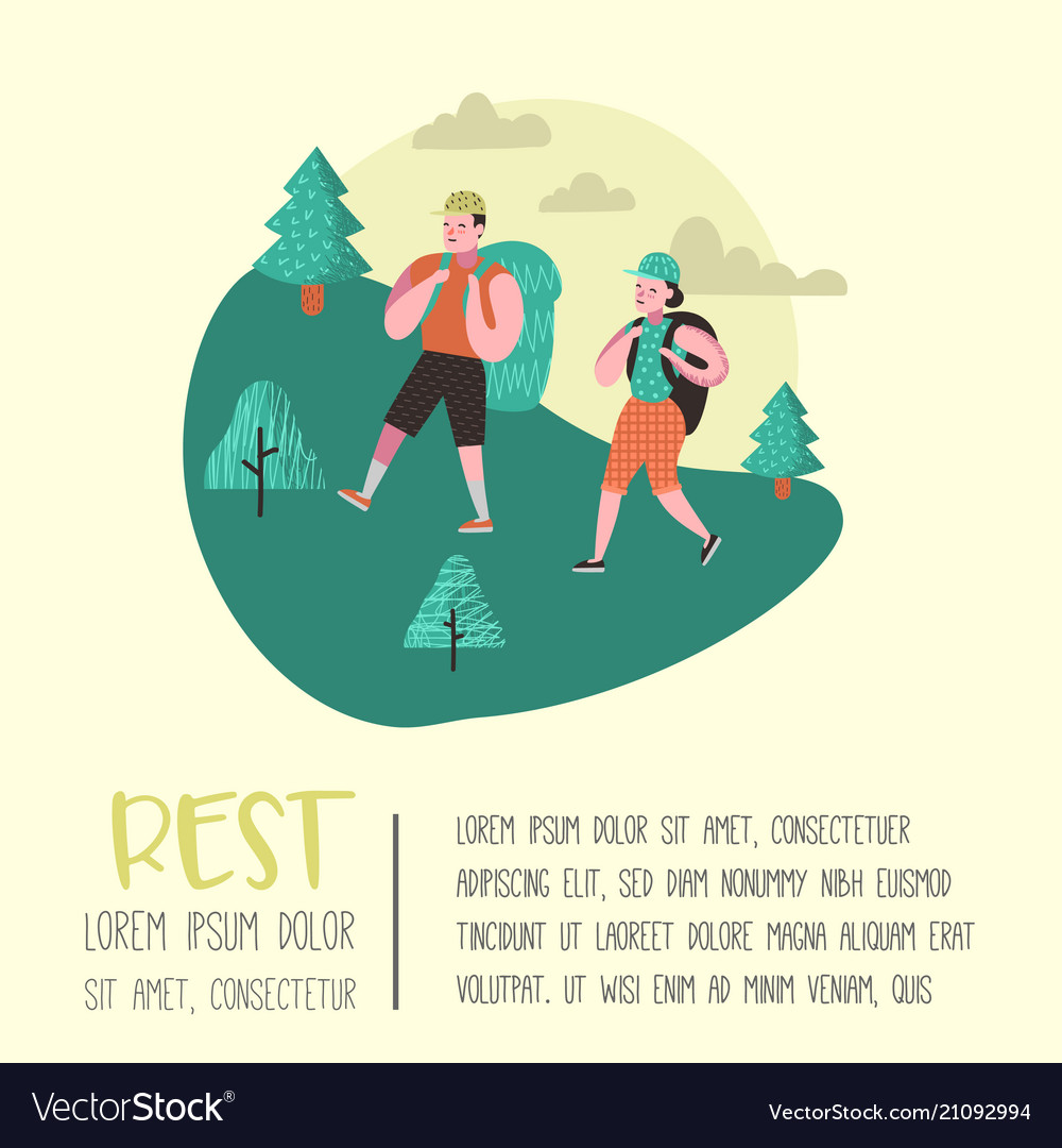 Summer camping poster banner people hiking
