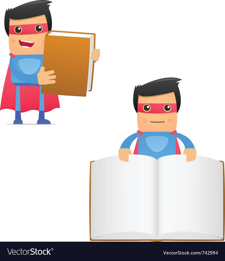 Superhero carrying book