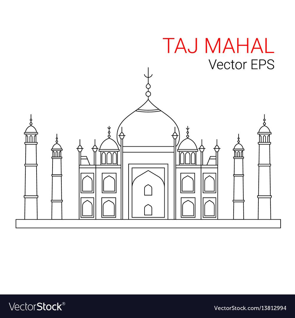 Taj mahal india line flat icon isolated
