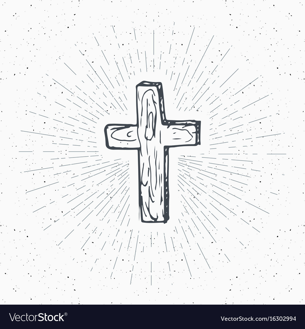 Vintage label hand drawn christian cross vector image