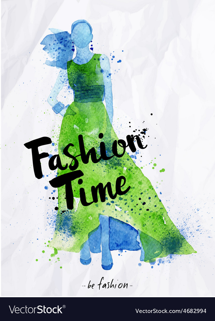 Watercolor poster lettering fashion time