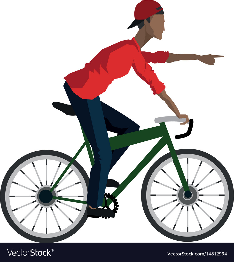 Young guy rider bicycle pointing hand