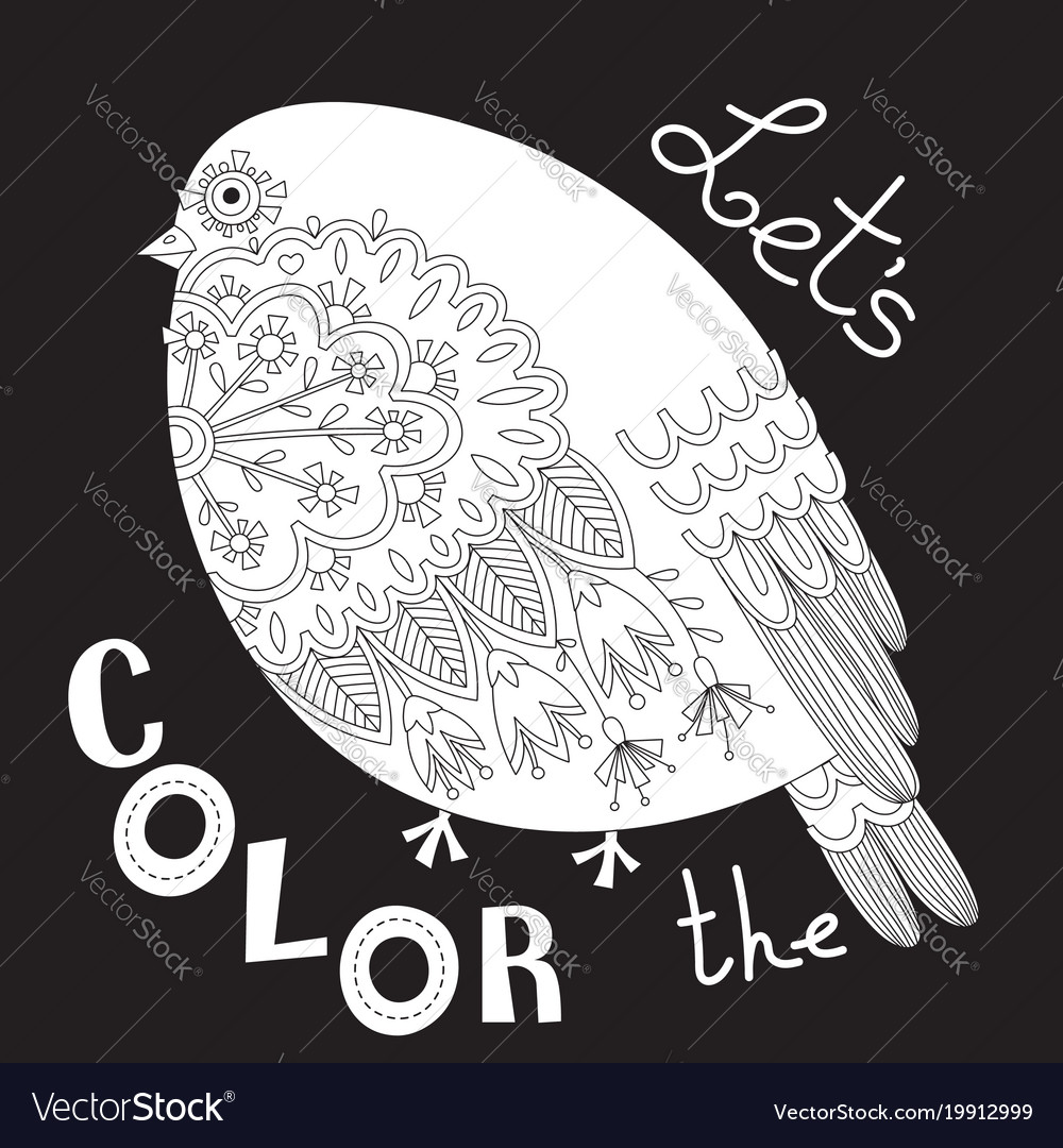 Bird with patterns and flowers coloring book page