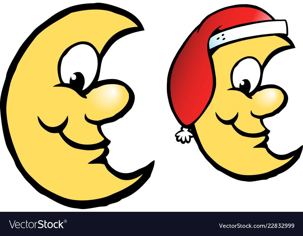 Cartoon of a happy yellow christmas moon