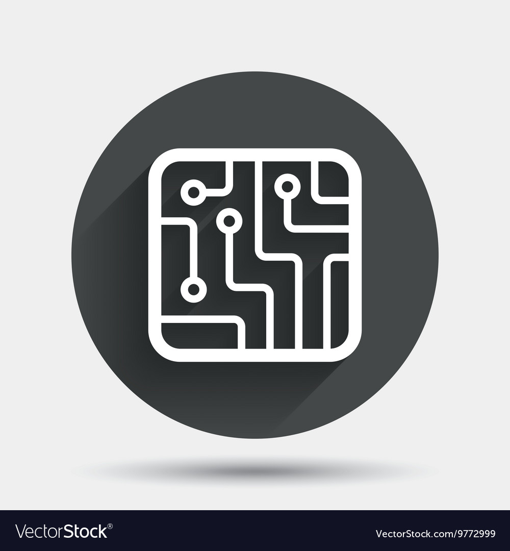 Circuit Board Sign Not Lossing Wiring Diagram Component Symbols Icon Technology Symbol Vector Image Rh Vectorstock Com Schematic Chart Led