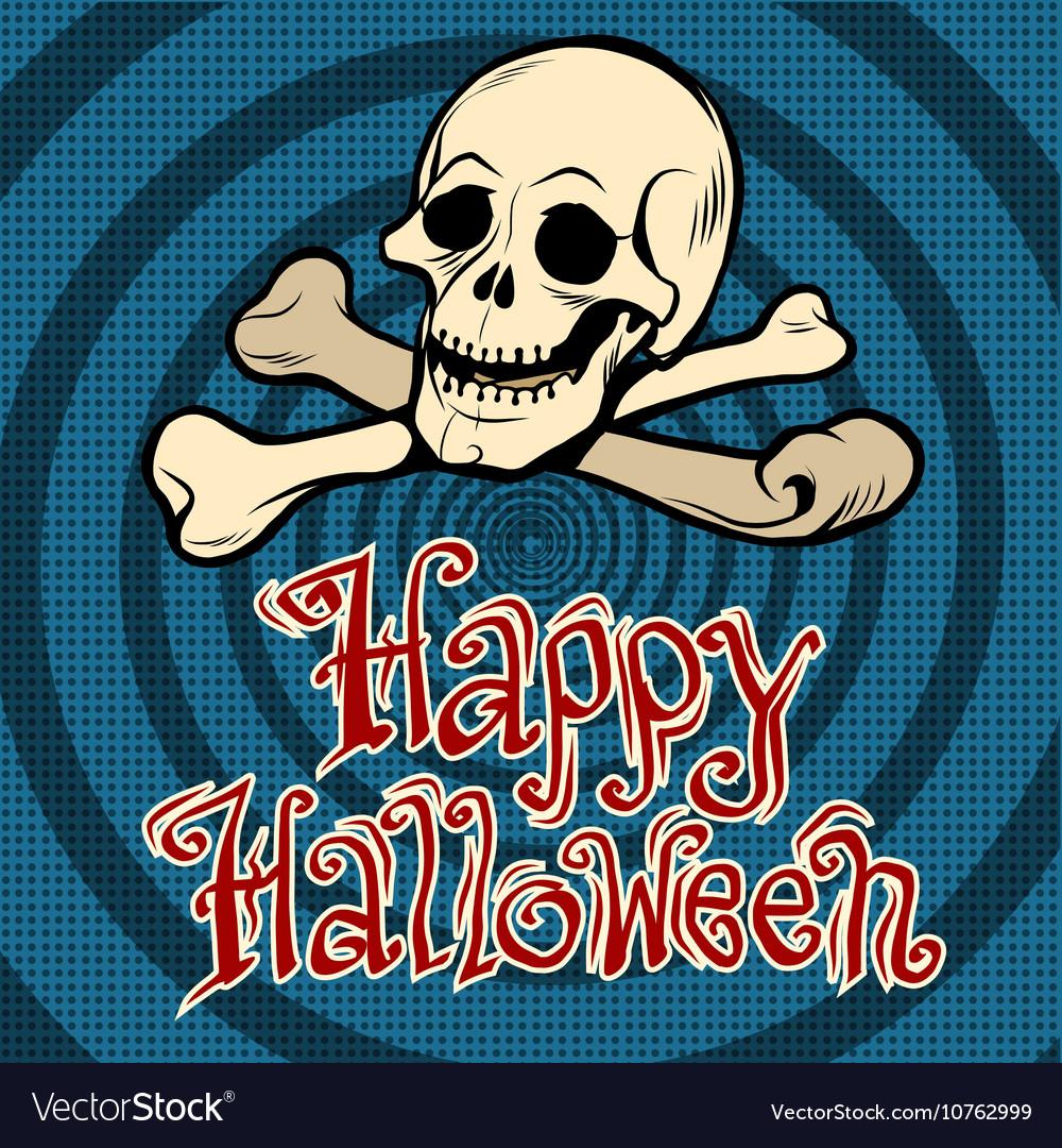 Happy Halloween skull and bones vector image