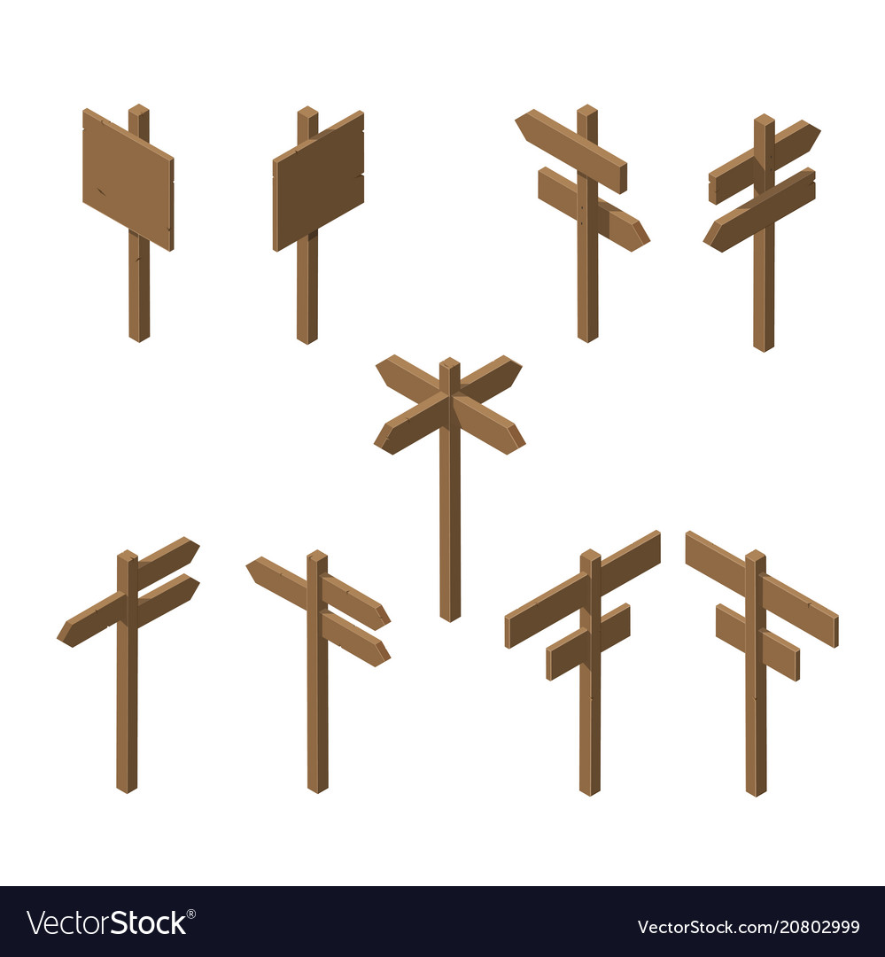 Isometric wooden pointers