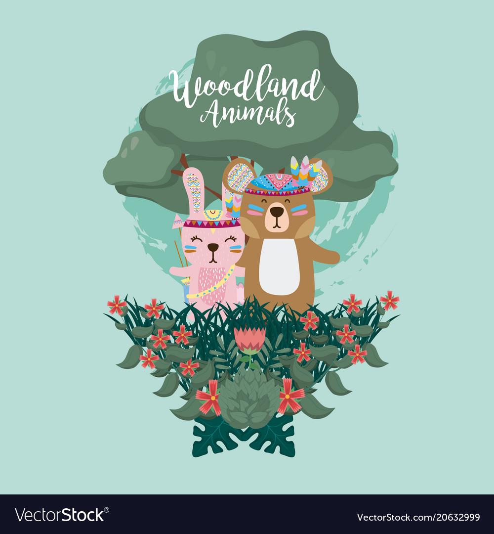 Rabbit and bear woodland animals