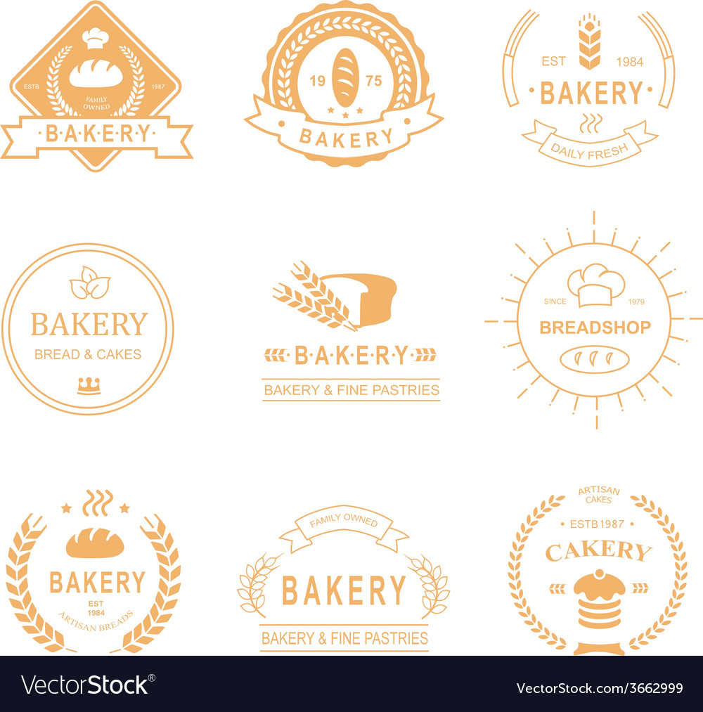Set of bakery and bread shop logos labels badges