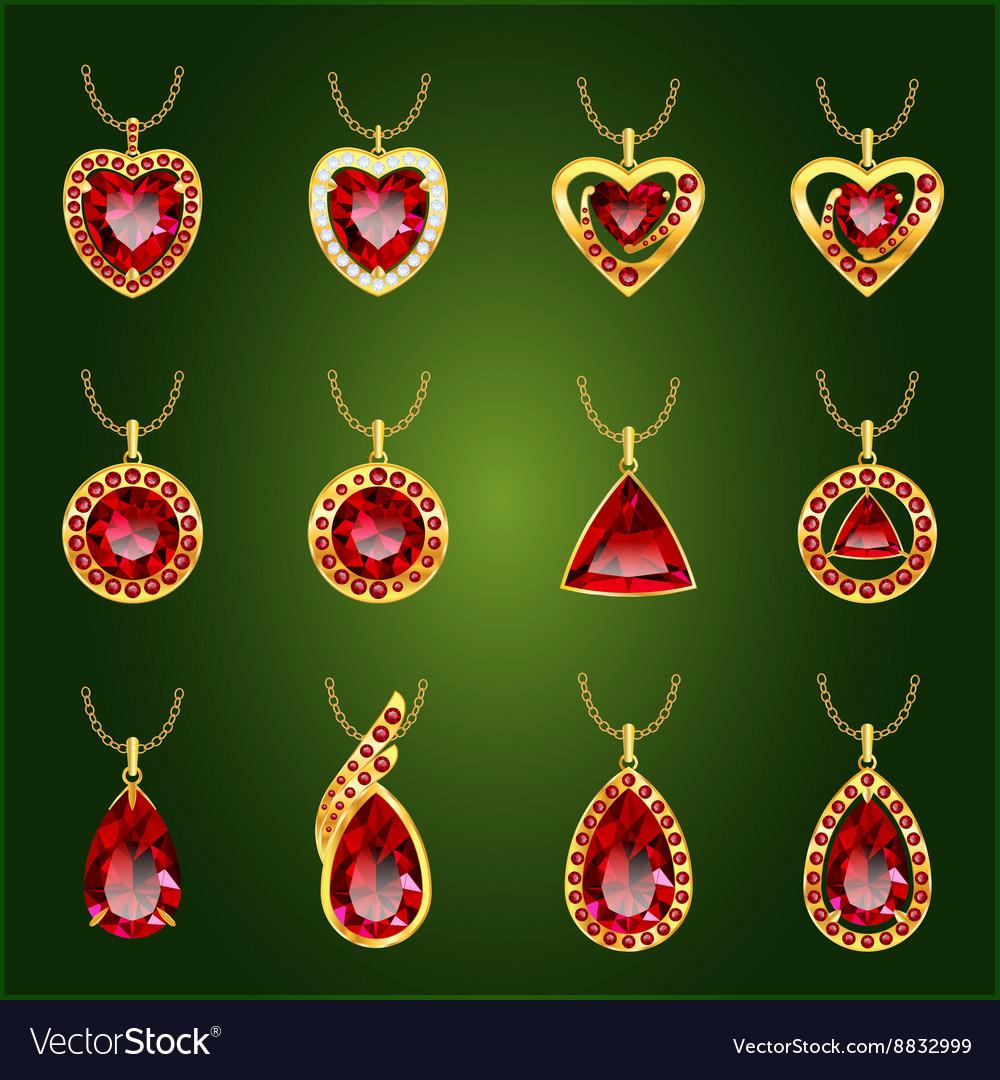 Set of red rubies pendants