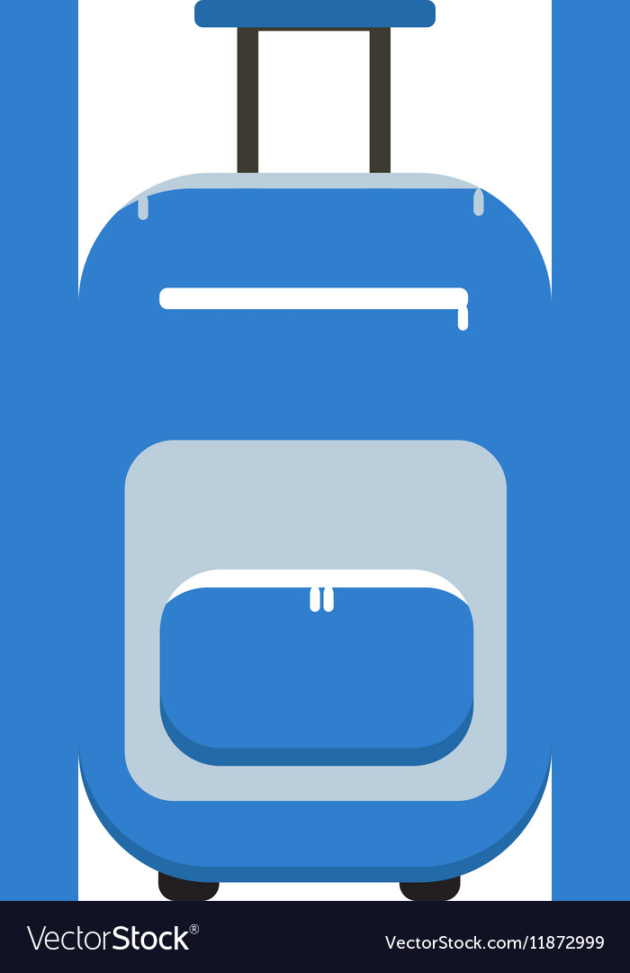 Travel Suitcase icon flat style on wheels