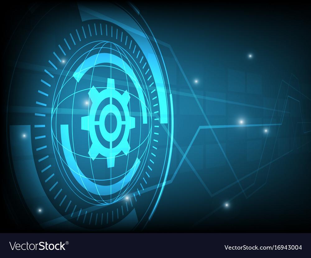 Abstract blue cog gear circle digital technology