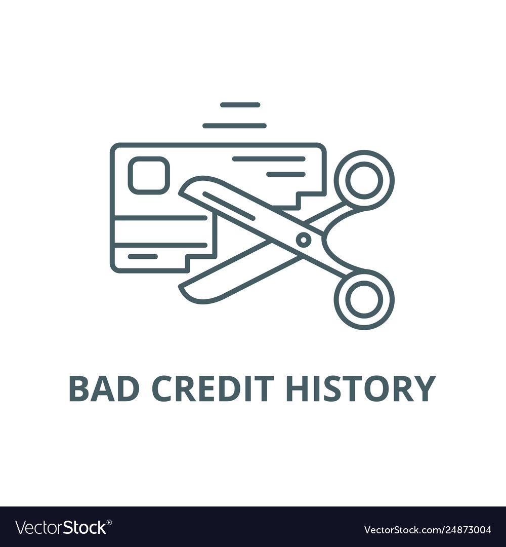 Bad credit history line icon bad credit Royalty Free Vector