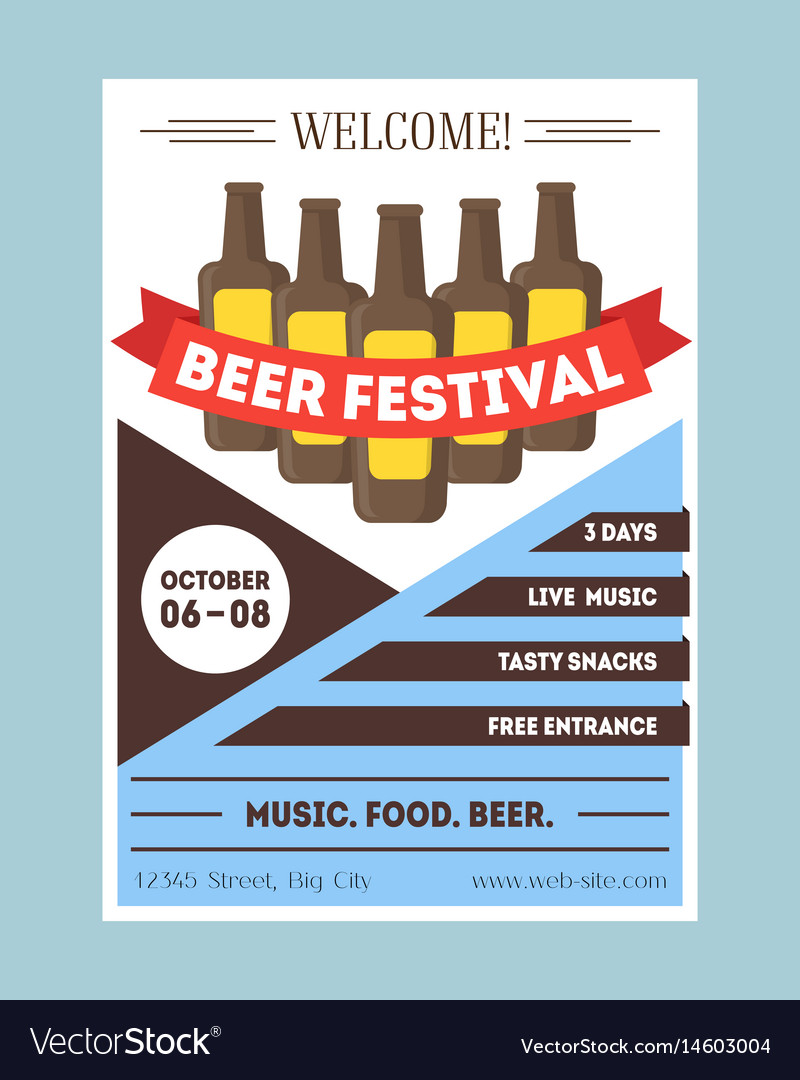 Beer festival invitation card or party poster vector image