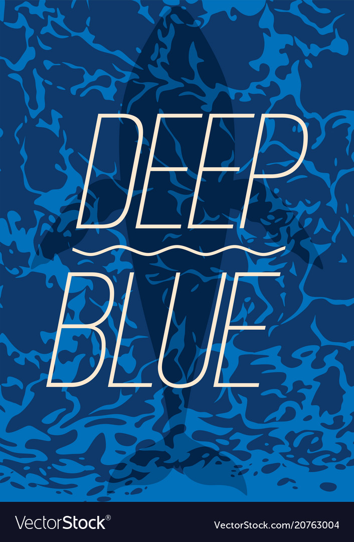 Big whale swimming in deep blue ocean poster