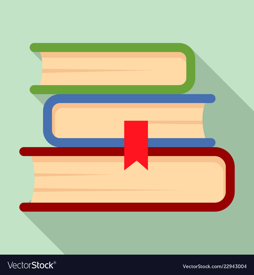 book stack icon flat style royalty free vector image