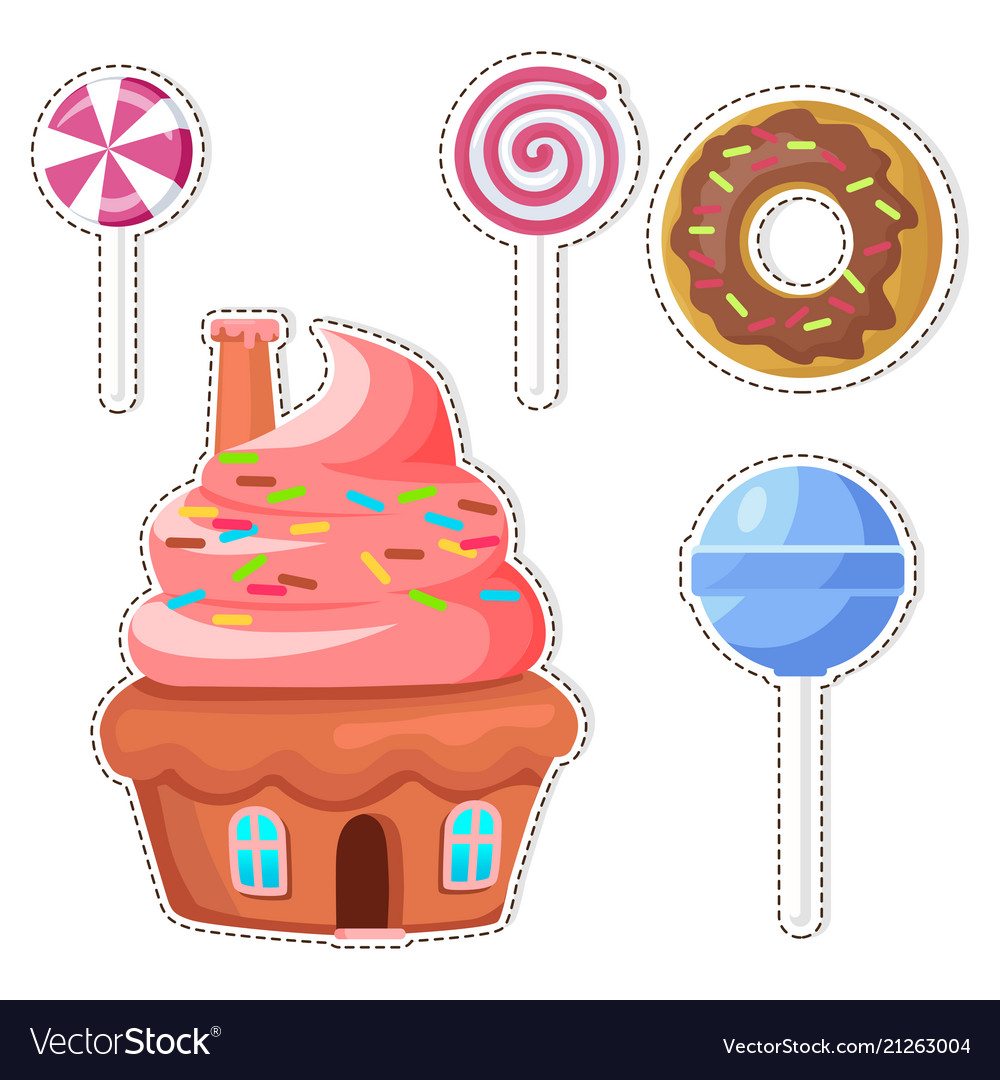 Cartoon sweets stickers or icons set
