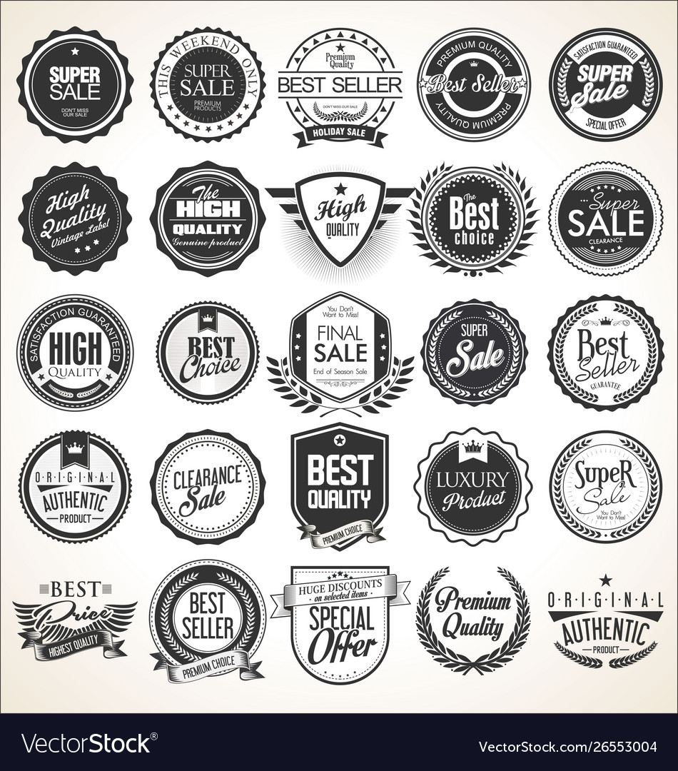 Collection retro vintage badges and labels