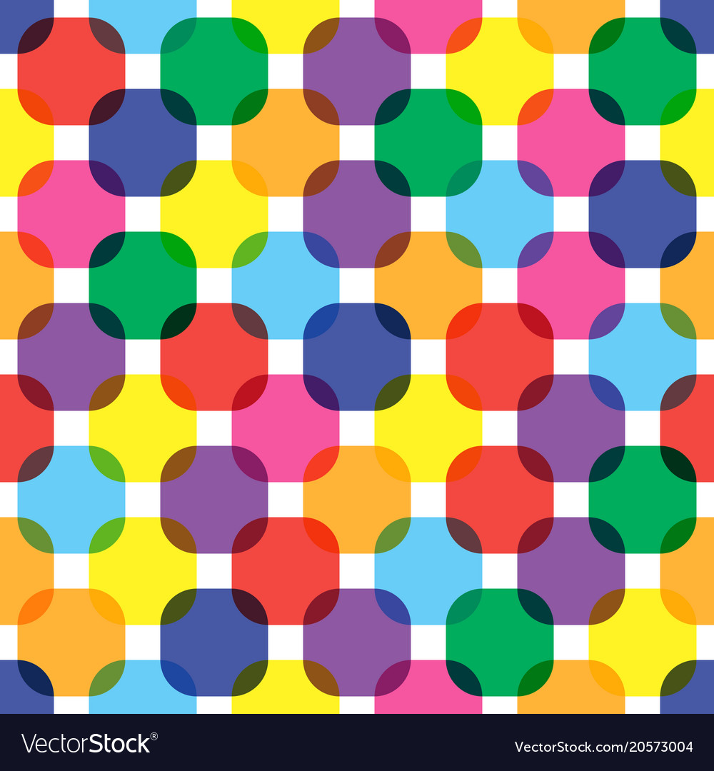 Color rounded squares seamless pattern