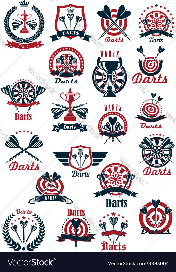 Dartboards with darts symbols for sporting design