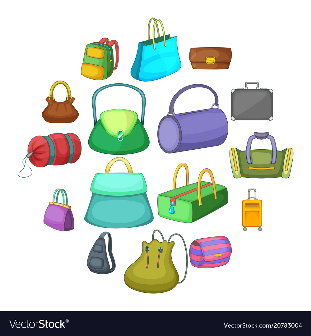 Different bagage icons set cartoon style