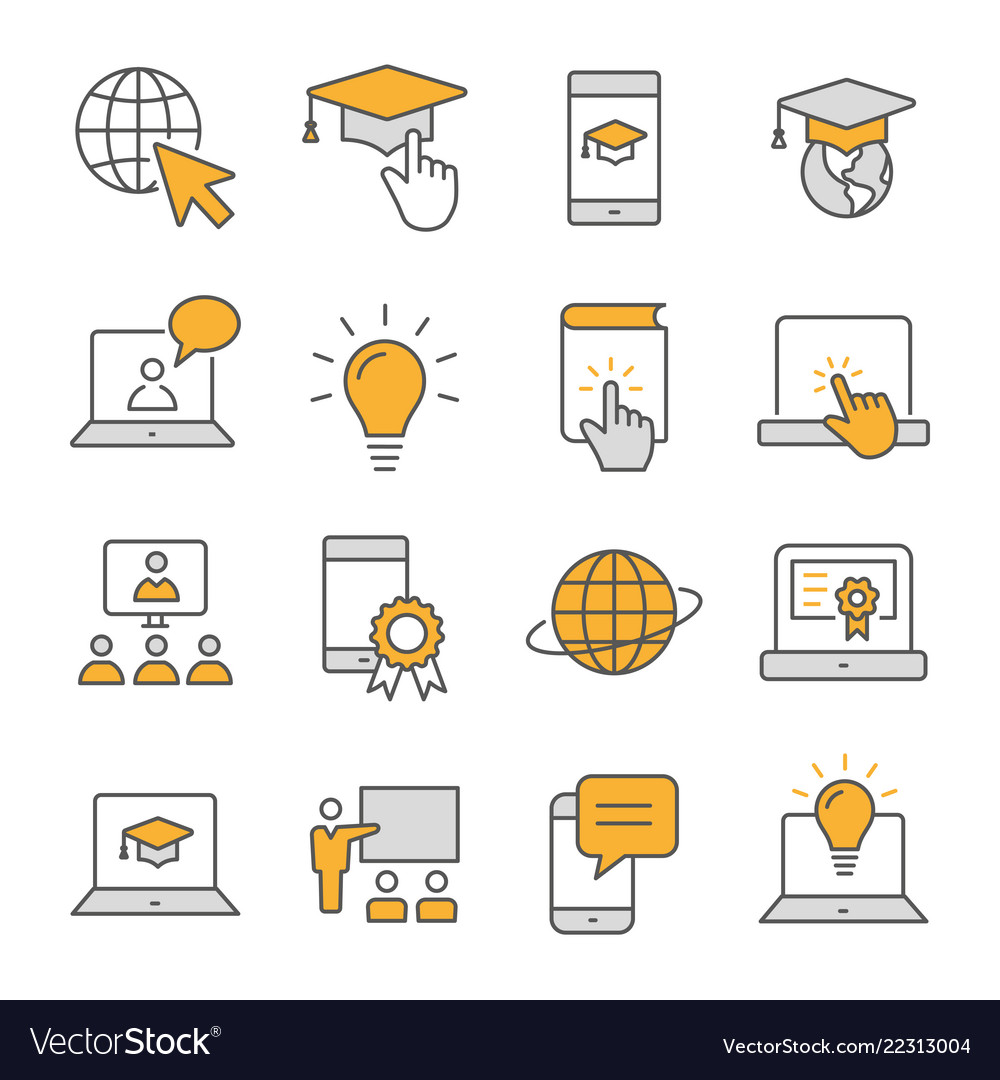 E-learning distance education flat line icons set
