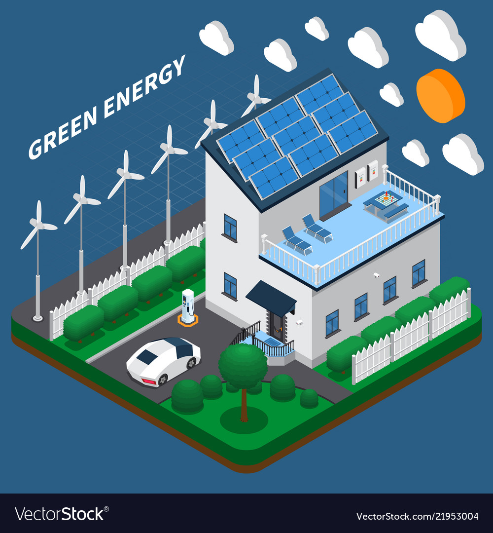 Eco electricity isometric composition
