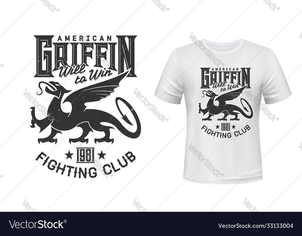 Griffin or gryphon animal mascot t-shirt print