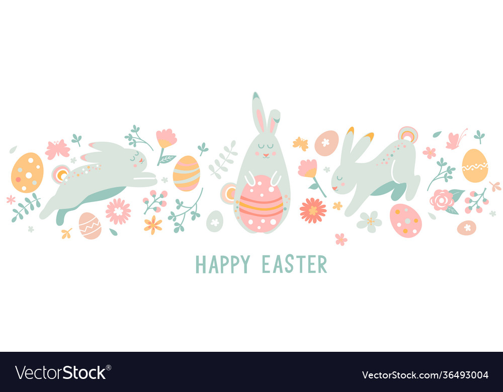 Happy easter greeting horizontal card banner
