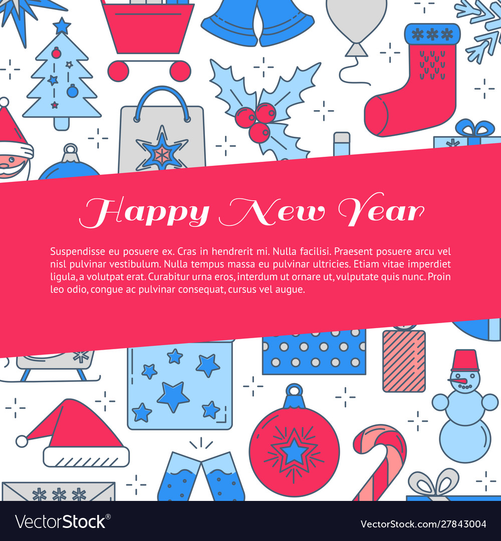 Happy new year banner template with place for text
