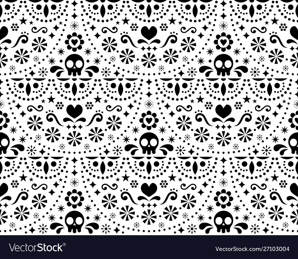 Mexican folk art seamless pattern with skul