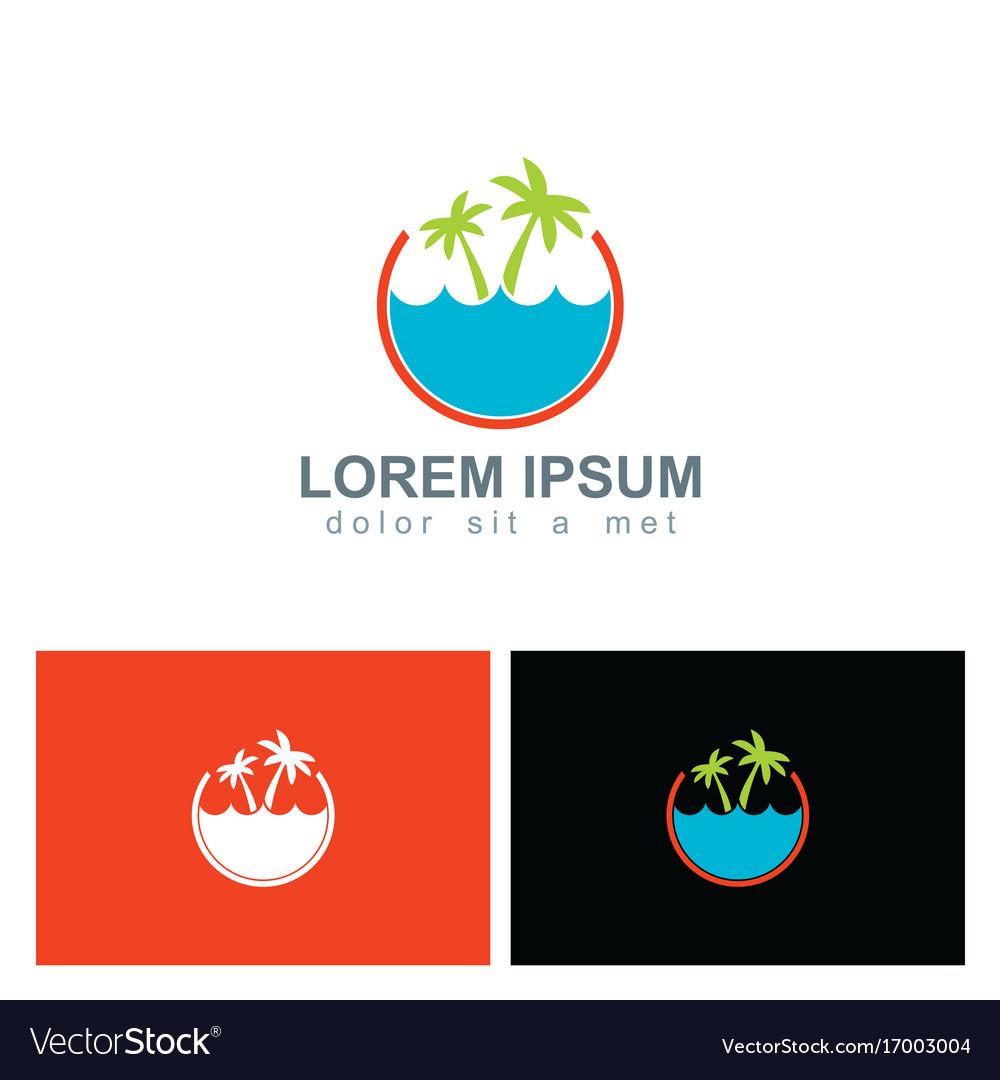Palm tree beach ocean holiday logo