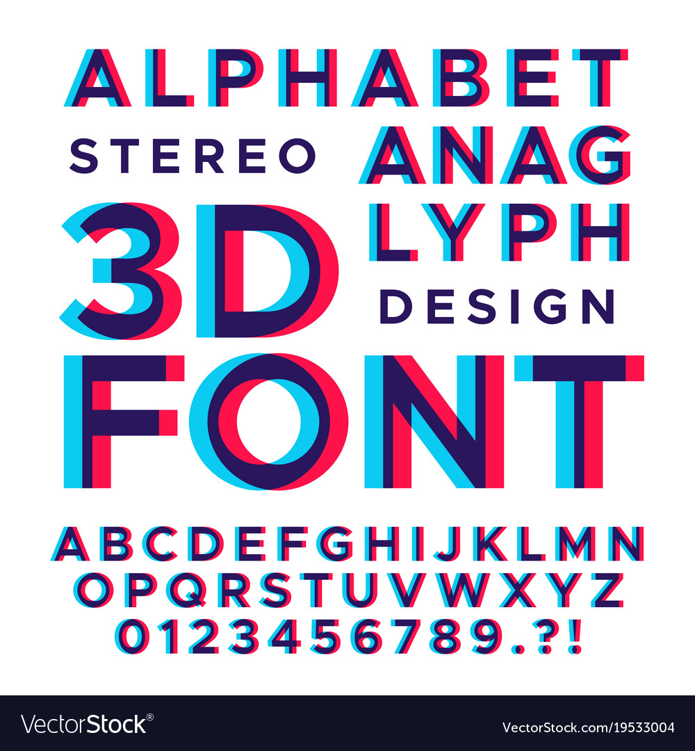 Stereoscopic stereo 3d letters and numbers Vector Image