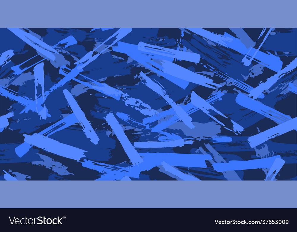 Blue seamless camouflage pattern brush strokes