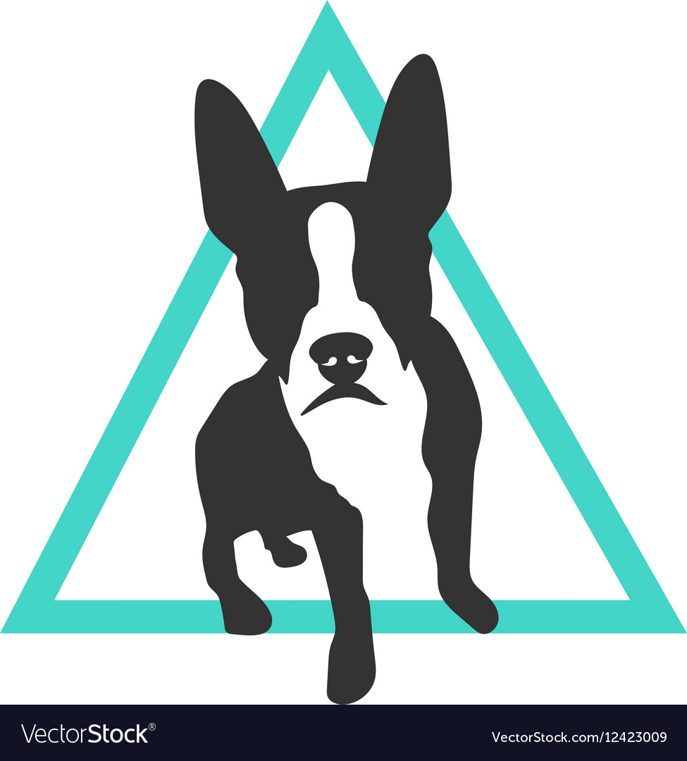 Boston Terrier Icon in Triangle