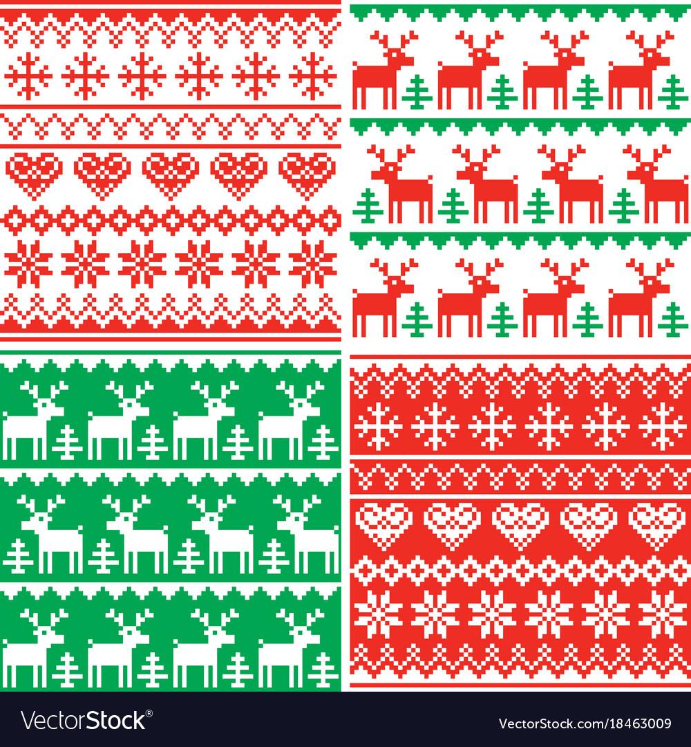 Christmas patttern set winter design vector image
