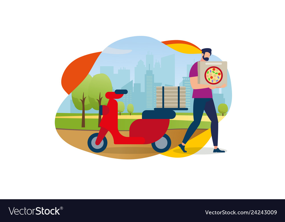 Delivery service order shipping man and scooter
